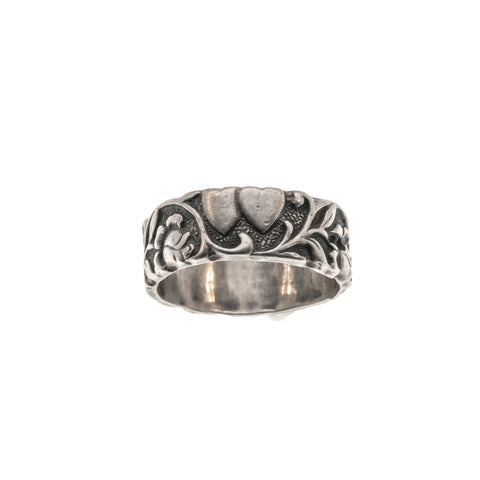 Art Deco Sterling Silver Double Heart, Flowers & Vine Ring