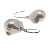 Baroque Elegance -  Estate Sterling Silver Baroque Pearl Earrings (EE151)