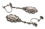 Feminine Allure - Edwardian French 935 Silver Baroque Pearl & Marcasite Earrings   (EDE044)