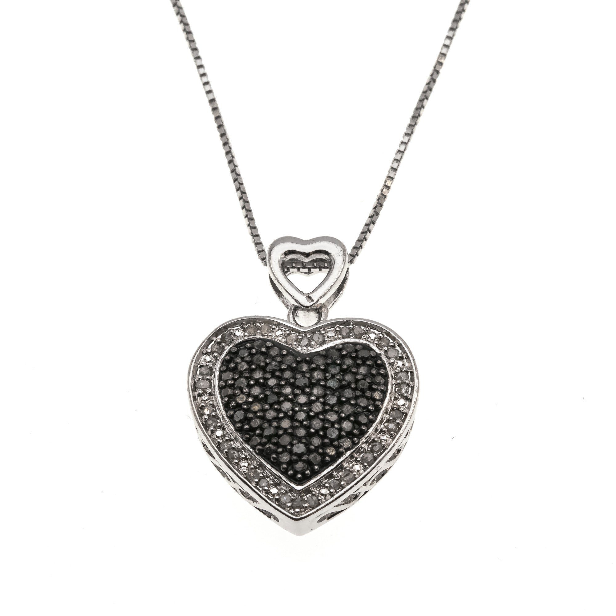 Celestial Valentine - Estate Sterling Silver Black & White Diamond Heart Pendant (EP028)