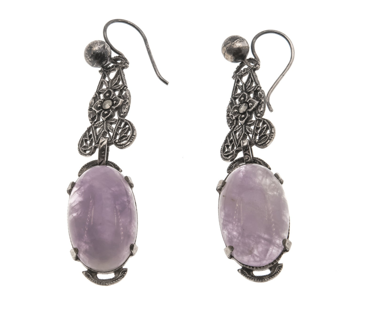 Lavender Dreams - Edwardian Sterling Silver Lavender Jade & Marcasite Earrings (EDE011)