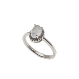 Blue Moon - Estate Sterling Silver Moonstone & CZ Ring  (ER168)