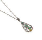 Shades Of Green - Estate Sterling Silver Green Opal Pendant