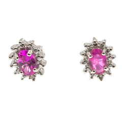 Estate Sterling Silver Ruby & Diamond Earrings (EE048)