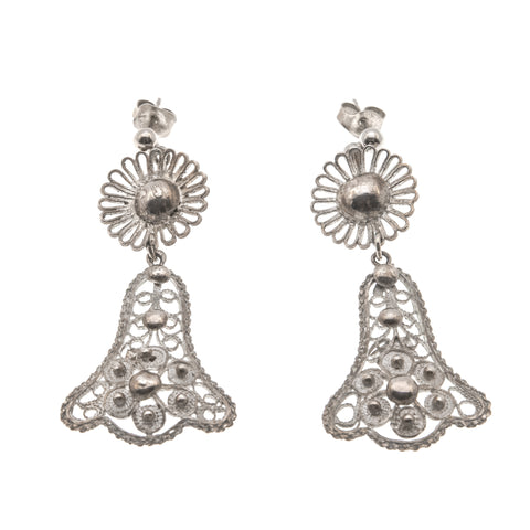 "Art Deco 935 Silver ""Wedding Bells"" Filigree Earrings"