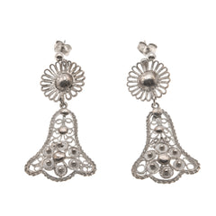 "Art Deco 935 Silver ""Wedding Bells"" Filigree Earrings (ADE012)"