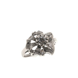 Signs Of Spring - Vintage Retro 14K White Gold Diamond Flower Ring (VR408)