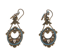 Extraordinary Colour - Victorian 1860-1880 Gold Enamel Earrings (VICE015)