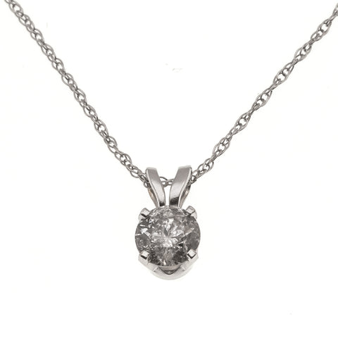 A Dazzling Classic - Estate 14K Diamond Solitaire Pendant