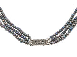 Atlantis - Art Deco Black Pearl Marcasite Sterling Silver Necklace