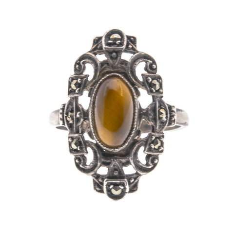 Vintage Sterling Silver Tiger Eye and Marcasite Ring (VR058)