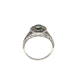 Dew - Estate Sterling Silver Green Amethyst Ring (ER103)