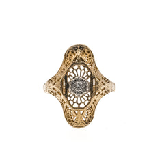 Art Deco 10K Gold Diamond Cluster Filigree Ring