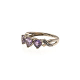 Trio Of Hearts - Vintage 10K Amethyst & Diamond Ring