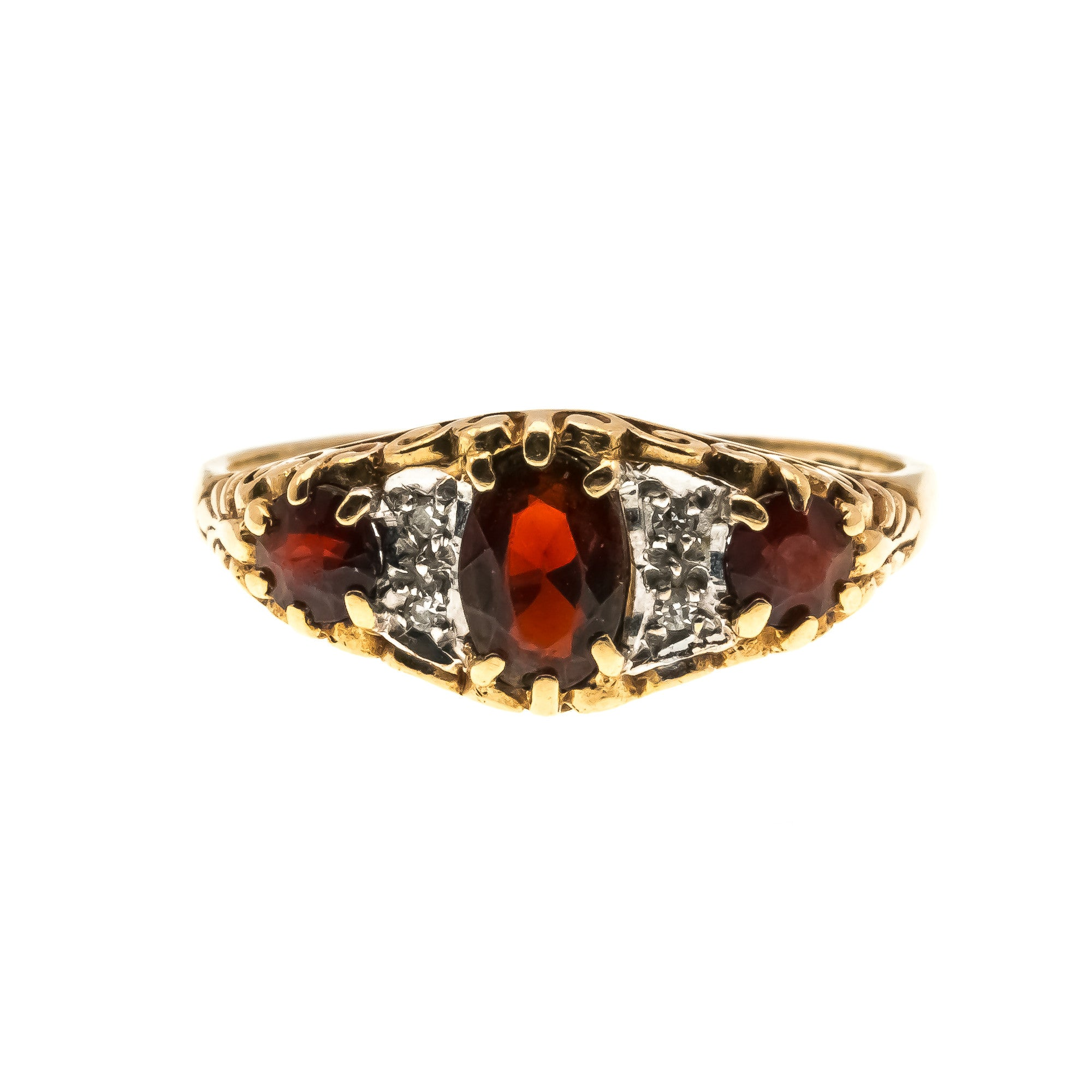 Trio Of Kisses - Vintage 9K Garnet & Diamond Ring