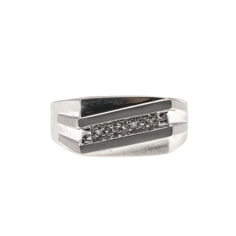 All In White Classic -  Vintage 10K White Gold Diamond Gents Ring (VR443)