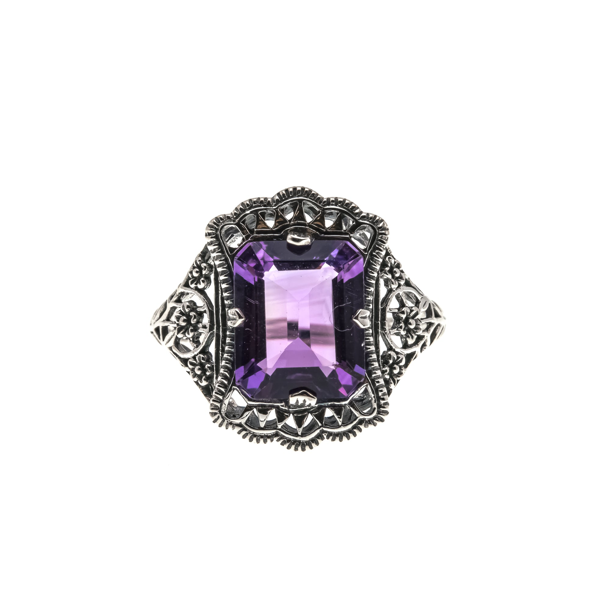 Fantasy & Lace - Estate Sterling Silver Amethyst Filigree Ring