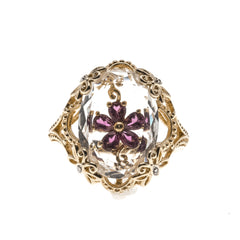 Ode To Palermo - Vintage Sterling Silver GP Quartz Amethyst Flower Ring