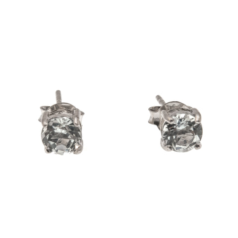 Water - Estate Sterling Silver White Topaz Stud Earrings (EE070)