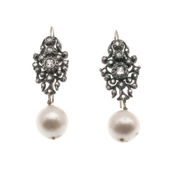 Georgian Elegance - Georgian 18K Rose Gold, Silver Pearl & Diamond Earrings (GE007)