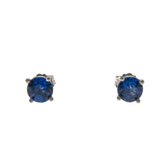 Ceylon Blue - Estate 14K White Gold Sapphire Stud Earrings (EE173)
