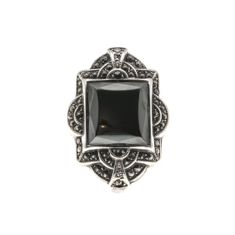 Art Deco Nights - Art Deco Sterling Silver Hematite & Marcasite Ring.
