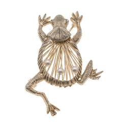Froggy Prince - Vintage Gold & Pearl Brooch