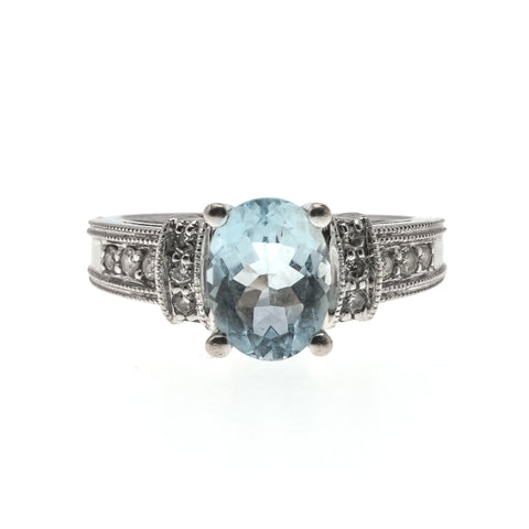 Amphitrite's Treasure - Vintage 14K Aquamarine & Diamond Ring