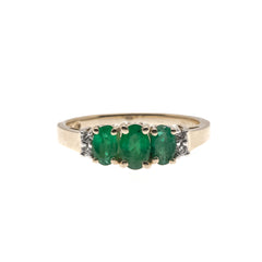 Emerald Trio - Vintage 14K Gold Emerald & Diamond Ring (VR436)