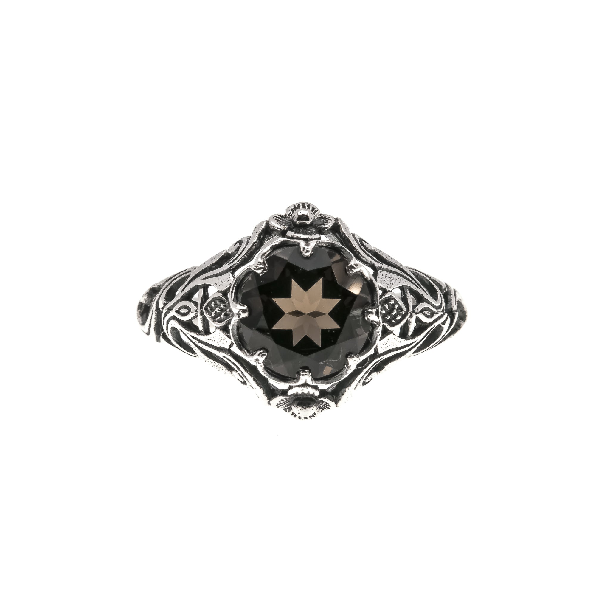 Smoke Gets In Your Eyes - Estate Sterling Silver Smoky Quartz Ring