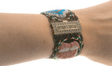 English Countryside - Scarce Georgian Pinchbeck Velvet & Beadwork Bracelets (GB004)