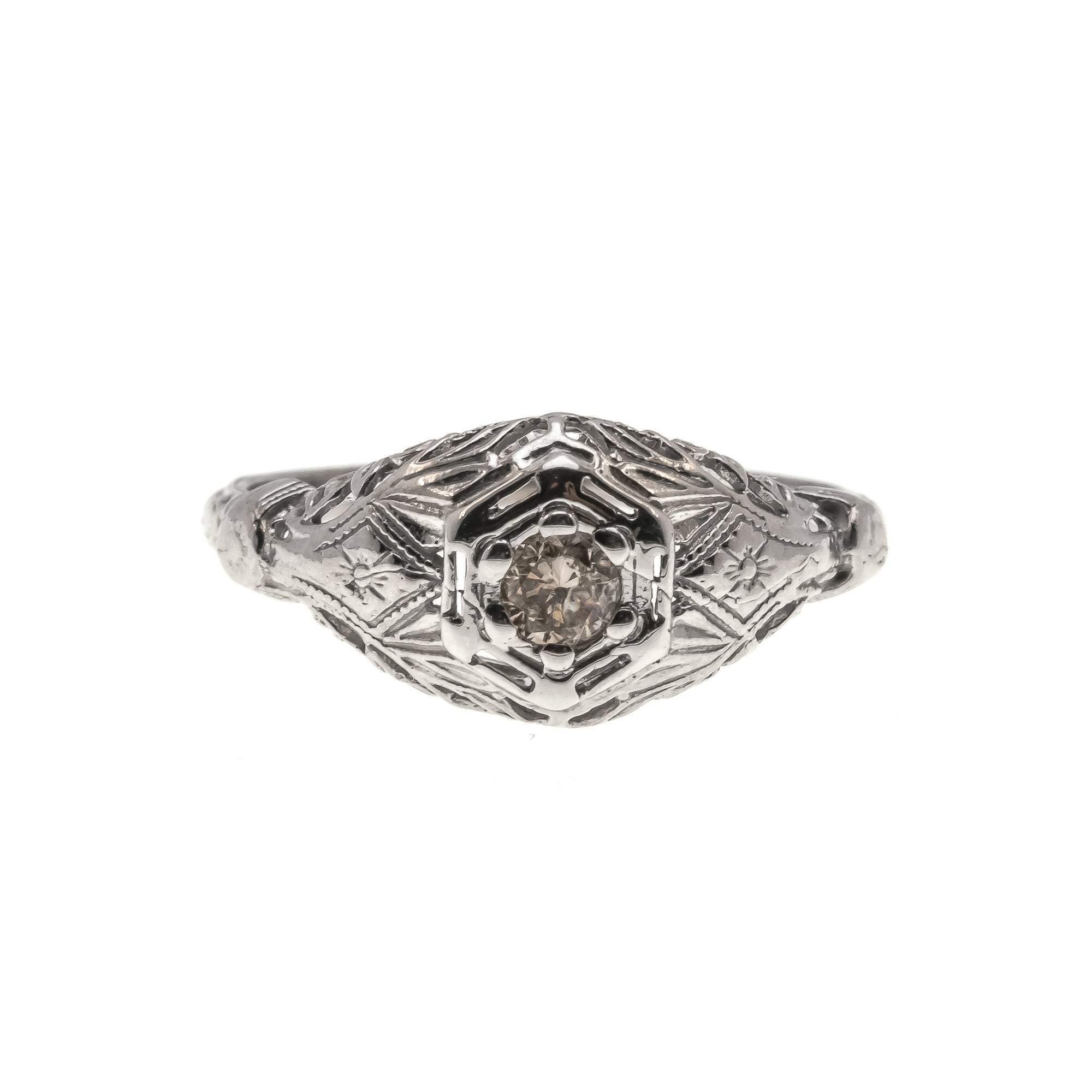 Roses & Lace - Art Deco 10K Natural Fancy Pink Diamond Filigree Ring (ADR168)