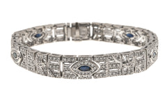 Can't Take My Eyes Off Of You - Vintage 18K Sapphire & Diamond Tennis Bracelet (VB027)