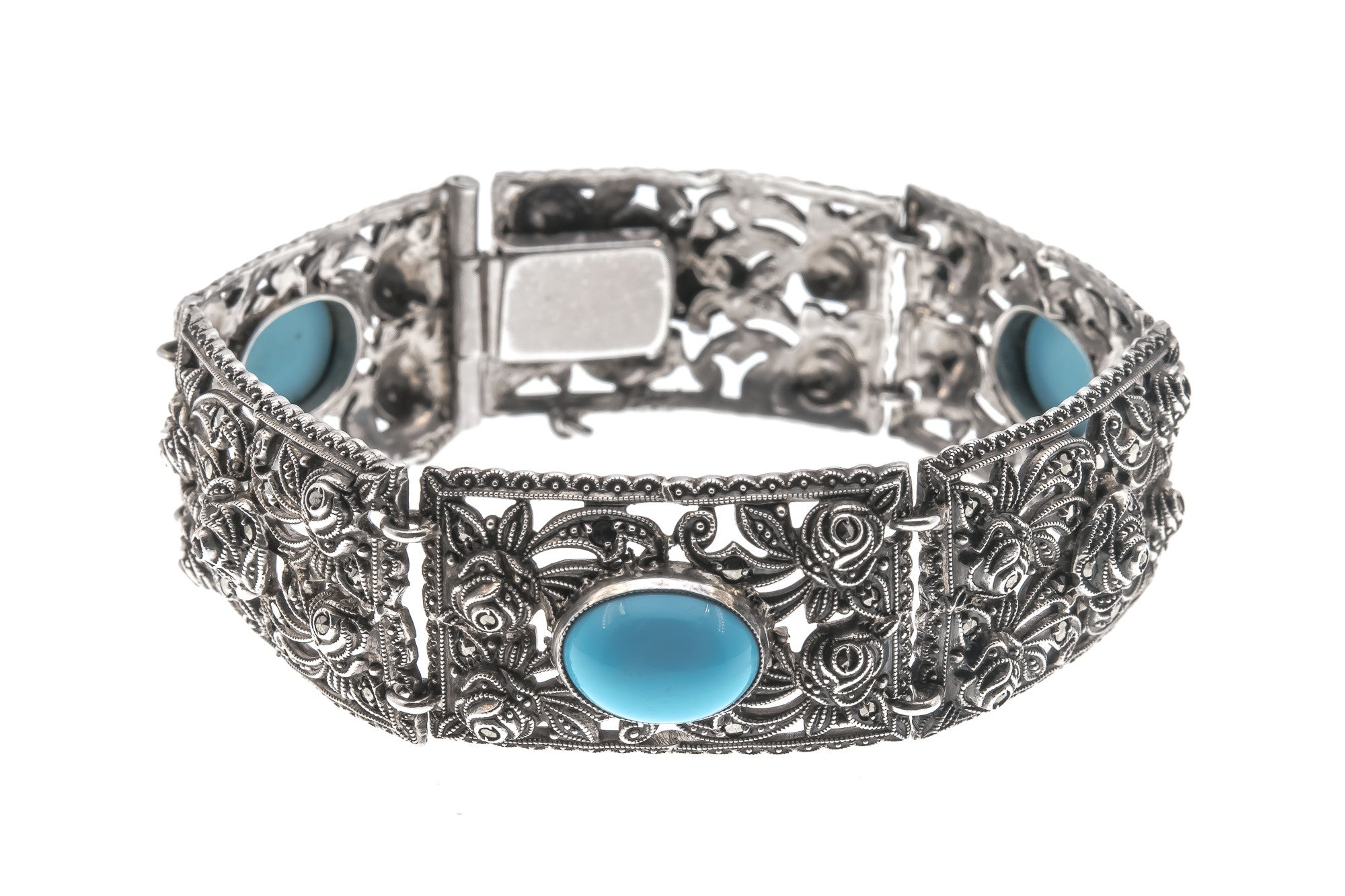 Art Deco Sterling Silver Turquoise and Marcasite Bracelet