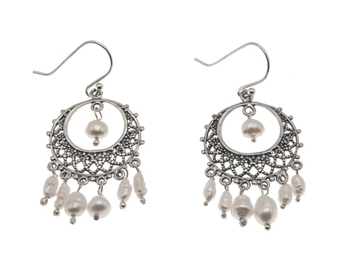 Tesoro De Perlas - Estate Sterling Silver Pearl Filigree Earrings  (EE158)