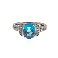 Centre Stage - Estate 14K Blue Topaz & Diamond Ring (ER152)