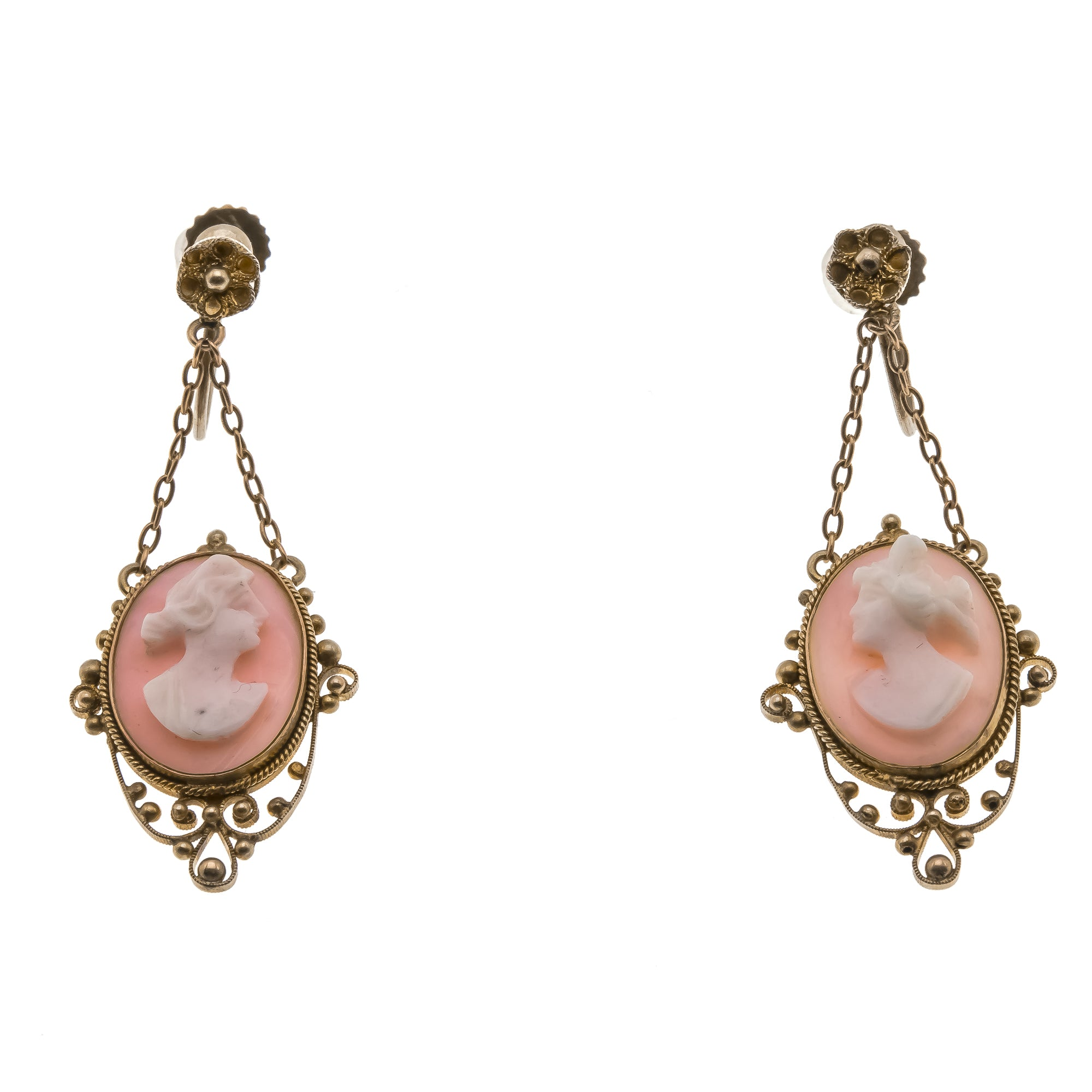 Etruscan Delicacy - Victorian 9K Etruscan Revival Carved Cameo Conch Shell Earrings (VICE030)                     VICE030