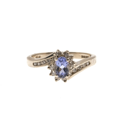 'Le Lavandou' - Vintage 14K Tanzanite & Diamond Ring.