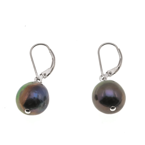 Treasure Island - Estate Sterling Black Baroque Pearl Earrings (EE156)