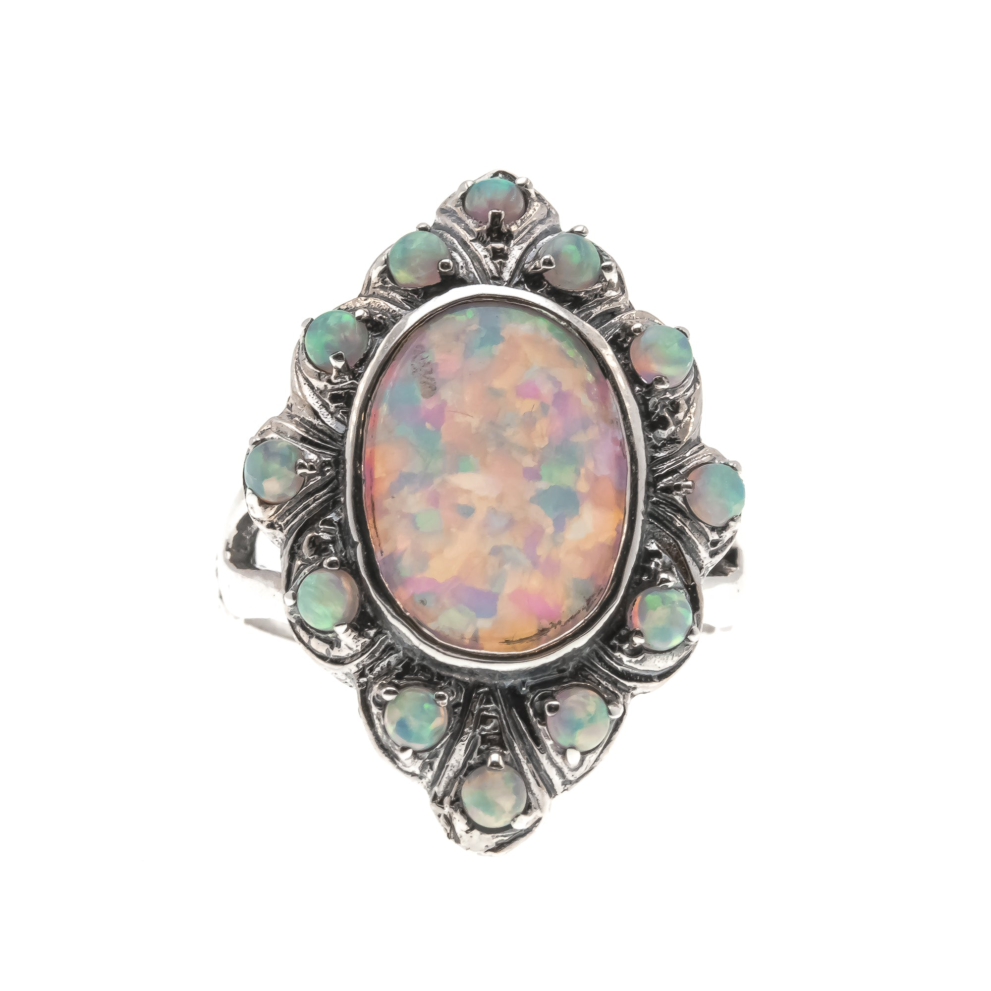 Shades Of Colour - Estate Sterling Silver Opal Marquise Cluster Ring (ER161)