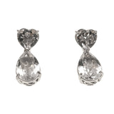 Yours - Vintage Sterling Silver Quartz Heart Drop Earrings