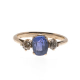 Worlds Collide -  Victorian 9K Natural Ceylon Sapphire & Diamond Ring  (VICR085)
