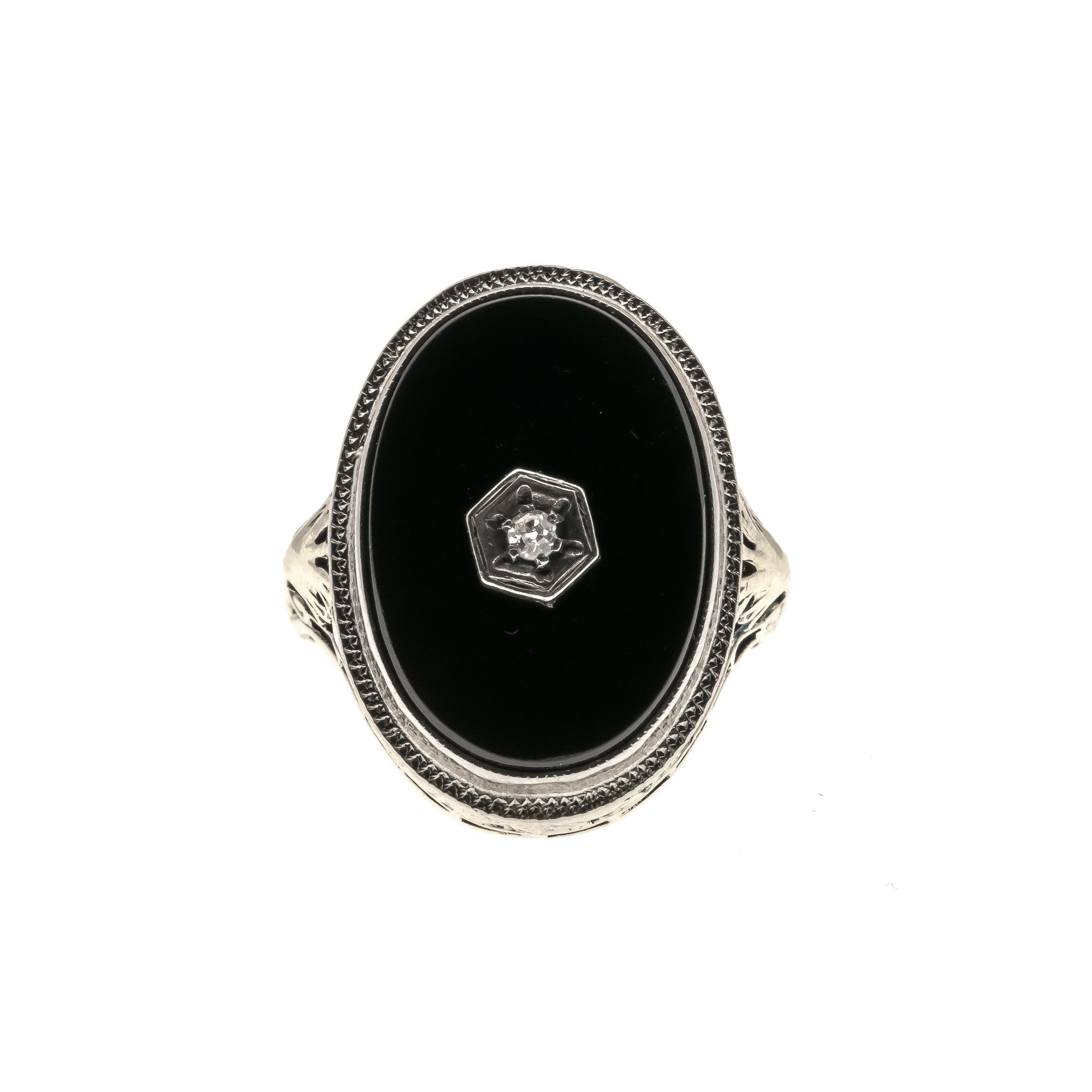 After Midnight - Art Deco 14K Onyx & Diamond Filigree Ring (ADR080)