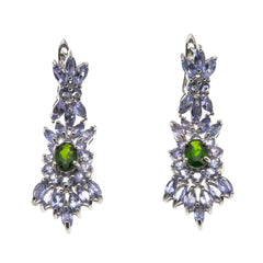 Lavender Fields - Estate Sterling Silver Tanzanite & Diopside Earrings                     EE161
