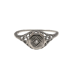 Fine Edwardian 14K Diamond Solitaire Filigree Ring