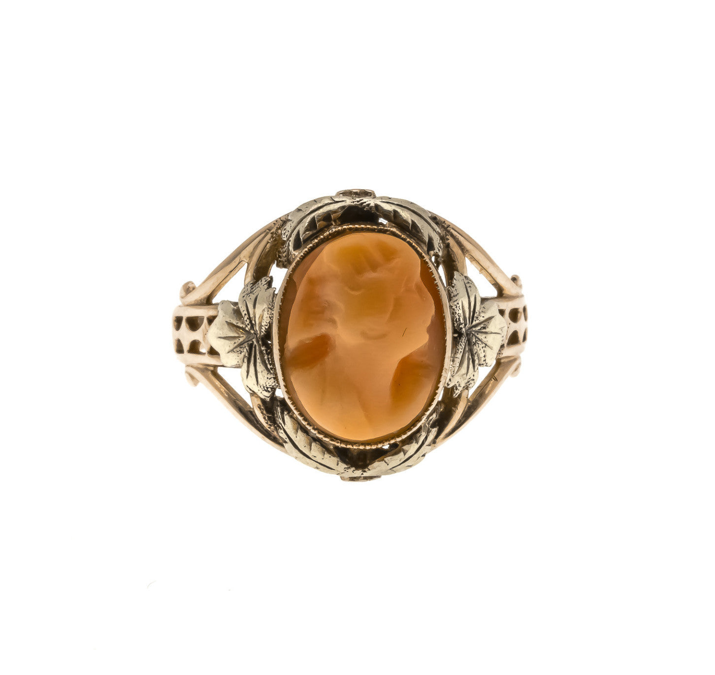 Victorian 10K Green & Rose Gold Coral Cameo Ring