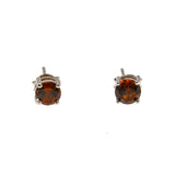 Fire - Estate Sterling Silver Garnet Stud Earrings (EE067)