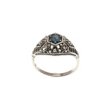 Blue Bayou - Estate Victorian Revival Sterling Silver Sapphire & Seed Pearl Filigree Ring (ER059)