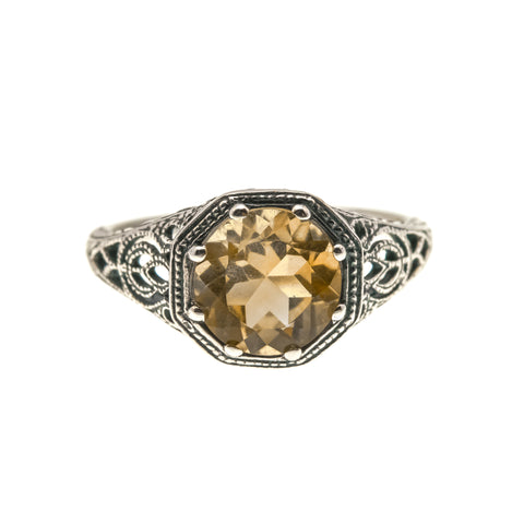 Candlelight - Estate Sterling Silver Citrine Filigree Ring