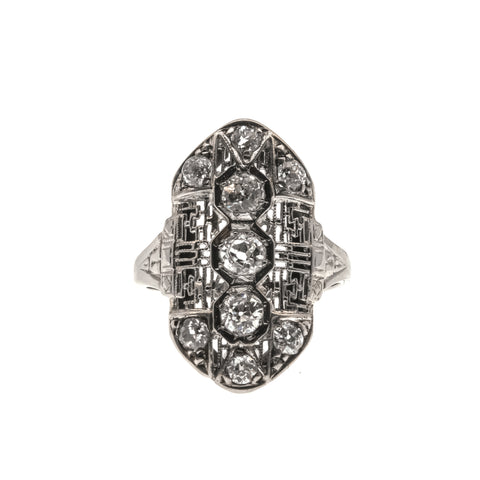 Edwardian Dream - 18K Diamond Filigree Ring